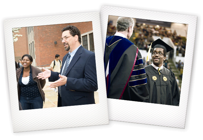 Polaroid photos of a professor speaking with students and a student graduating.